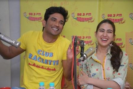 Sushant Singh Rajput with Sarah Ali Khan at Radio Mirchi Studio for Kedarnath